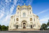 Naval Cathedral of St. Nicholas in Kronstadt St-Petersburg.Russia. poster