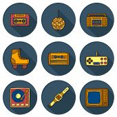 Set of cartoon hand drawn icons on retro 80s theme poster
