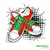 Colored hand drawn funky gumshoes skateboard fashion urban sneakers in red and green colors with title 'Sneakers is my shoes' on grunge halftone background vector illustration poster