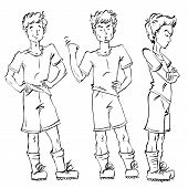 Set of vector full-length hand-drawn Caucasian teens black and white front and side view sketch of an angry youngster threatening the fist monochrome illustration of standing adolescent with hand crossed on chest poster
