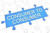 Consumer to Consumer - puzzle 3d render illustration with word on blue background poster