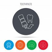Toothpaste icon. Teeth health care sign. Globe, download and speech bubble buttons. Winner award symbol. Vector poster
