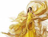 Fashion Model Dress Woman in Flowing Fabric Gown Clothes Flow on Wind White Yellow poster