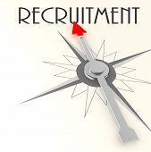 Compass with recruitment word image with hi-res rendered artwork that could be used for any graphic design. poster
