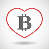 Illustration of a line heart icon with a bit coin sign poster