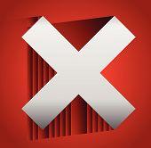 Red cross graphics. Remove delete button icon. editable vector poster