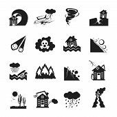 Flat monochrome icons set of various types of natural disasters isolated vector illustration poster