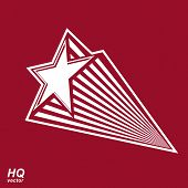 Astronomy conceptual illustration pentagonal comet star vector celestial object with decorative comet tail. Eps8 superstar icon. Armed forces design element. poster