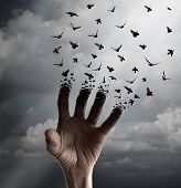 Life transformation concept as a hand reaching out tranforming into flying birds following sunlight as a freedom symbol of hope renewal and spirituality or human faith. poster