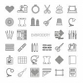 Needlework line icons set. Cross stitch supplies and accessories.Embroidery kit needle thread scissors cloth embroidery machine pin pattern. Vector illustration. poster