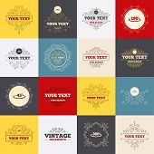 Vintage frames, labels. Angle 45-360 degrees icons. Geometry math signs symbols. Full complete rotation arrow. Scroll elements. Vector poster
