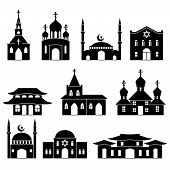 Church building black icons set. Architecture judaism and islam, orthodoxy and catholicism, christianity religion, vector illustration poster