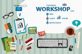 Workshop and flat design illustration concepts for business analysis planning consulting team work project management. Workshop concepts for web banner and printed materials. poster