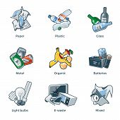 Illustration of isolated trash categories with organic paper plastic glass metal e-waste batteries light bulbs and mixed waste on white background. Waste types segregation recycling management concept. poster