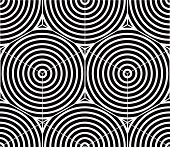Contrast black and white symmetric seamless pattern with interweave figures. Continuous geometric composition for use in graphic design. poster