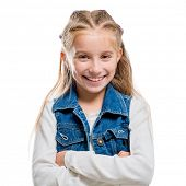 little girl  pointing upwards isolated on white background close-up poster