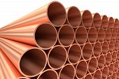 Heavy metallurgical industry production and non-ferrous industrial products creative abstract illustration: many stainless metal shiny copper pipes lying in rows diagonal view 3D illustration poster