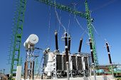 high power transformer station for industry on blue sky poster