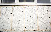 Polyurethane insulation foam between polystyrene foam. Foam black and white background. poster