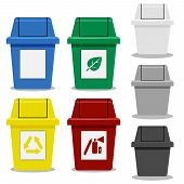 Set of Trash bin with symbol in flat icon style in many color poster