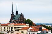 travel to Brno city - Brno skyline with Cathedral of St Peter and Paul Czech poster