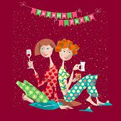 Two girls in a slumber party. Pajama party. Vector illustration poster