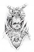Tattoo art sketch of a machine and skull poster