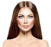 Divided woman face before and after blending Contour and Highlight makeup. Professional Contouring face make-up applying sample. Comparison portrait of two parts of model girl face poster