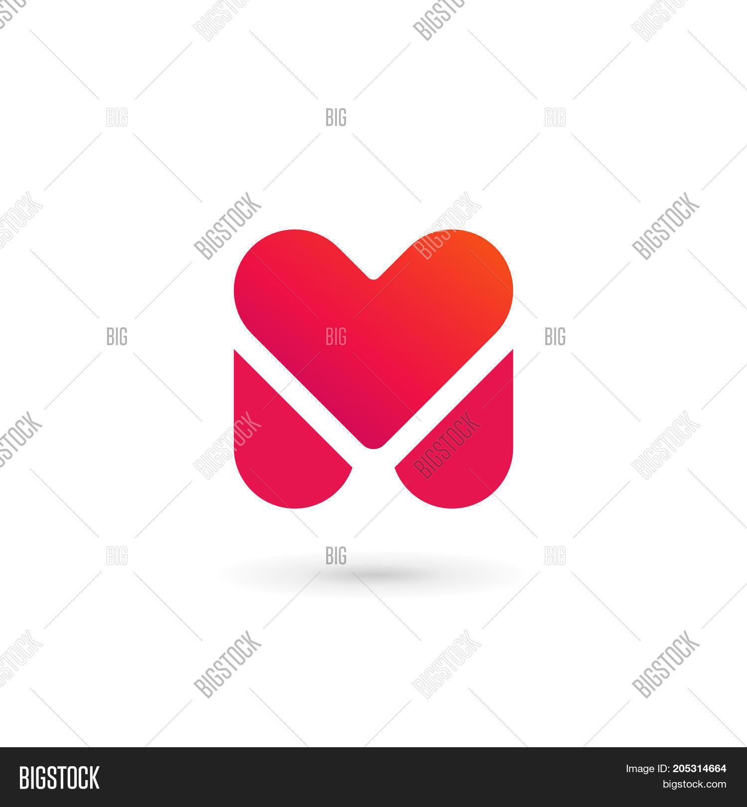 Letter M Heart Logo Vector Photo Free Trial Bigstock