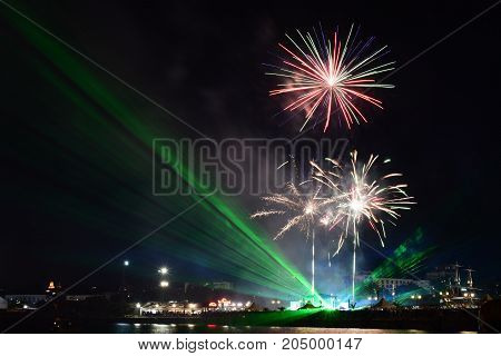 Fireworks for the holiday of Varna city, The Sea capital of Bulgaria.