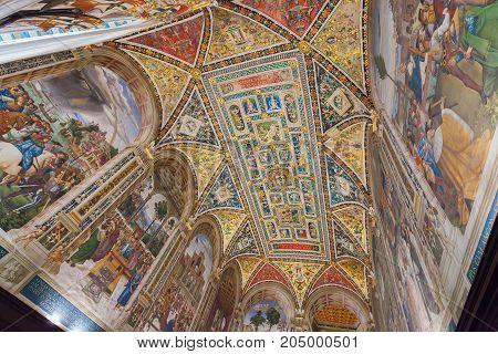 Siena Italy - April 04 2017: Ceiling of Piccolomini Library in Siena Cathedral (Duomo di Siena)