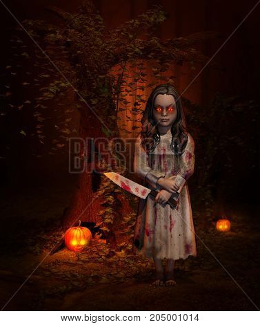 3D rendering of a scary Halloween Concept of a monster Child in a forest holding a butcher knife.
