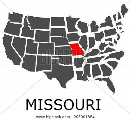 State Of Missouri On Map Of Usa