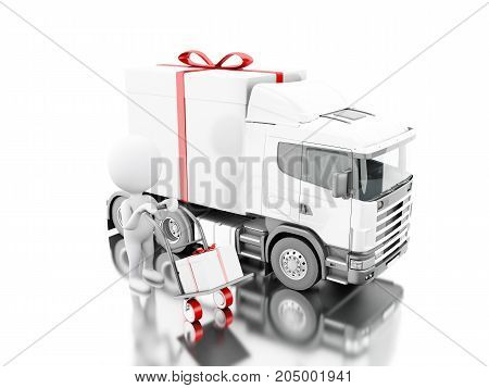 3D White People Delivering A Gift Box With Truck And Delivery Van