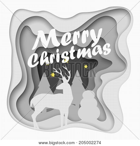 Layered cut out paper Merry Christmas postcard with trees, deer, stars. Vector template in carving art style. Eps10.