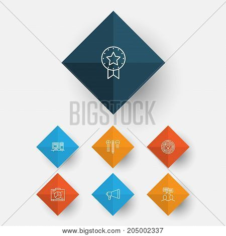 Project Icons Set. Collection Of Present Badge, Innovation, Discussion And Other Elements