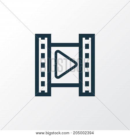 Premium Quality Isolated Movie Element In Trendy Style.  Cinema Outline Symbol.
