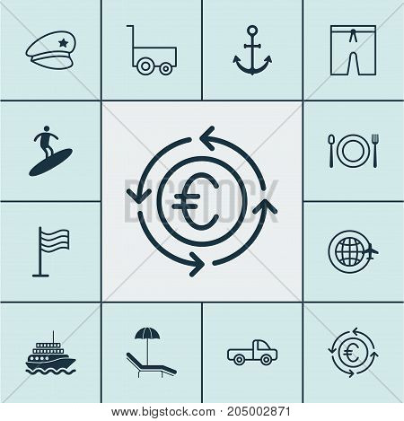 Tourism Icons Set. Collection Of Cop Hat, Eating, Ship Hook And Other Elements