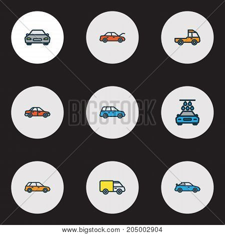 Automobile Colorful Outline Icons Set. Collection Of Truck, Automobile, Machine And Other Elements