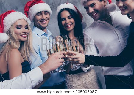 To Xmas And Newyear! Close Up Of Excited Cheerful Chilling Youth Celebrating Xmas With Stemware Of M