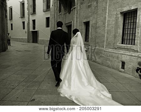 A just married couple. A newly married couple in Valencia. Spain