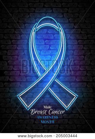 Male Breast Cancer Awareness Month Emblem, Blue Ribbon Symbol