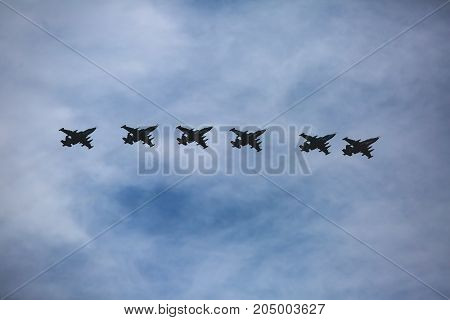 A Squadron Formation Of Russian Attack Aircrafts In The Air, Russian Aerospace Forces, With Fighter