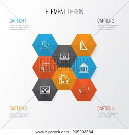 Education Icons Set. Collection Of Library, Education Center, Diploma And Other Elements
