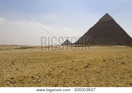 Landscape with the pyramids of Khafre in the foreground