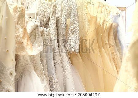 White and cream colored wedding dresses horizontal
