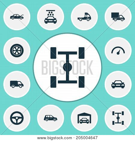 Automobile Icons Set. Collection Of Truck, Drive Control, Fixing And Other Elements