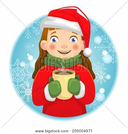Girl holding a hot cup. Winter and Christmas time concept