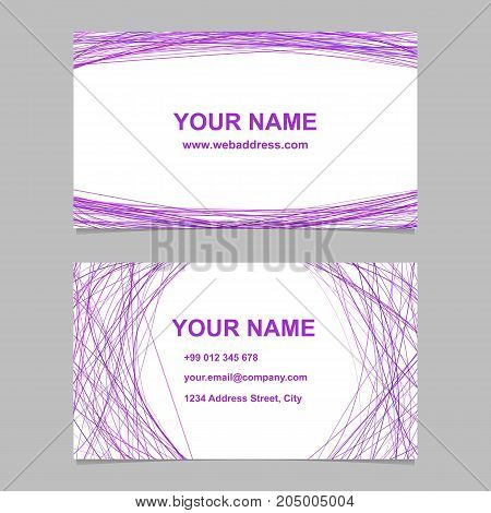 Modern business card template set - vector corporate design with arched stripes on white background