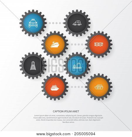 Transportation Icons Set. Collection Of Railway, Travel Boat, Boat And Other Elements